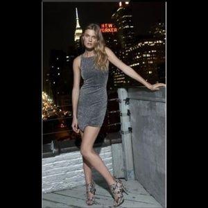 Express Metallic Asymmetrical Hem Sheath Dress 2